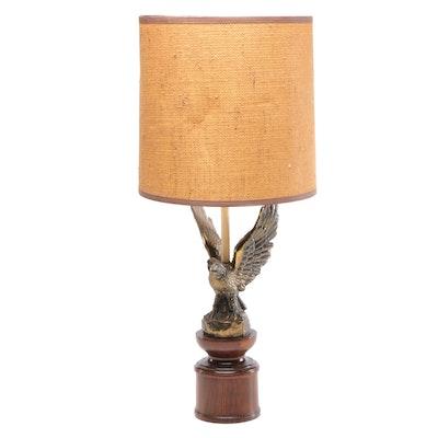 Mid-Century Cast Eagle Lamp with Burlap Shade
