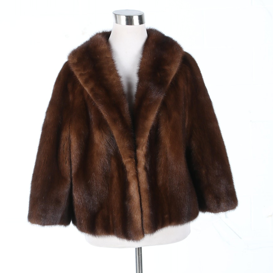 Mink Fur Jacket with Shawl Collar and Three-Quarter Length Sleeves