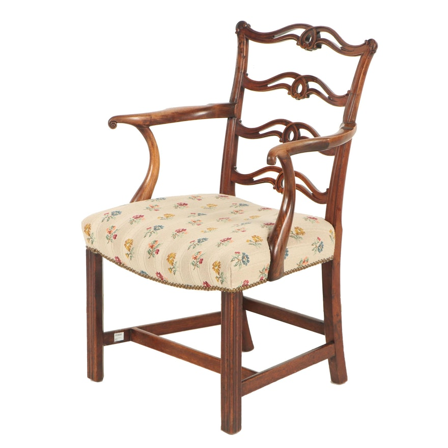 Chippendale Style Ribbon Back Mahogany Finish Wooden Armchair, 19th Century