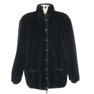St. John Faux Fur and Knit Button-Front Jacket