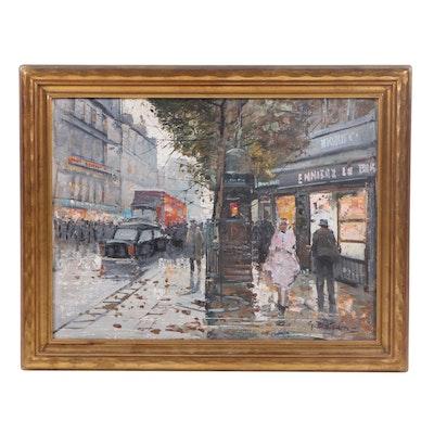 G. Bradin Street Scene Oil Painting