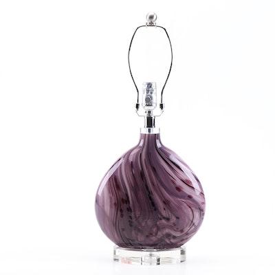 Purple Art Glass Table Lamp Attributed to Possini Euro, Contemporary