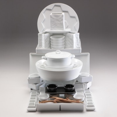 Crate & Barrel Lidded Porcelain Bake Ware and Other Dinnerware, Contemporary