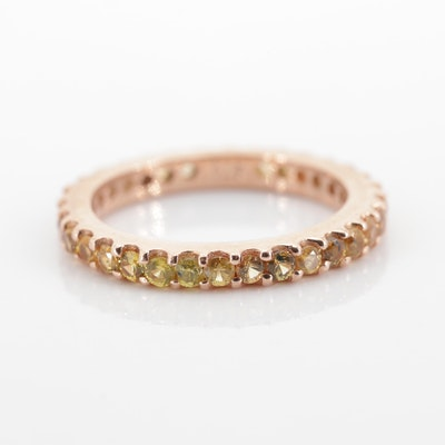 Sterling Silver Sapphire Eternity Band with Rose Gold Wash