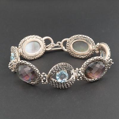Michael Dawkins Sterling Blue Topaz and Quartz Mother of Pearl Doublet Bracelet