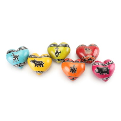 Kenyan Hand-Painted Soapstone Heart Paperweights