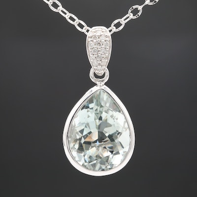 Sterling Silver Diamond and Quartz Pendant Necklace