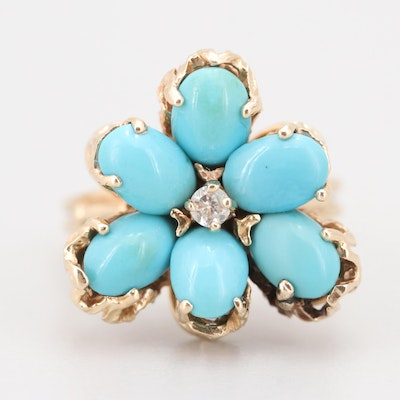 14K Yellow Gold Diamond and Turquoise Floral Ring