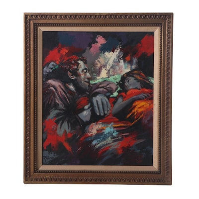 Reinol Abstract Oil Painting of Father and Child