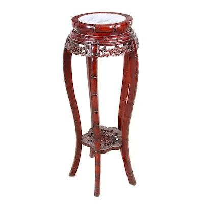 Chinese Marble Top Carved Rosewood Plant Stand
