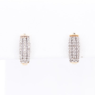 10K Yellow Gold Diamond J Hoop Earrings