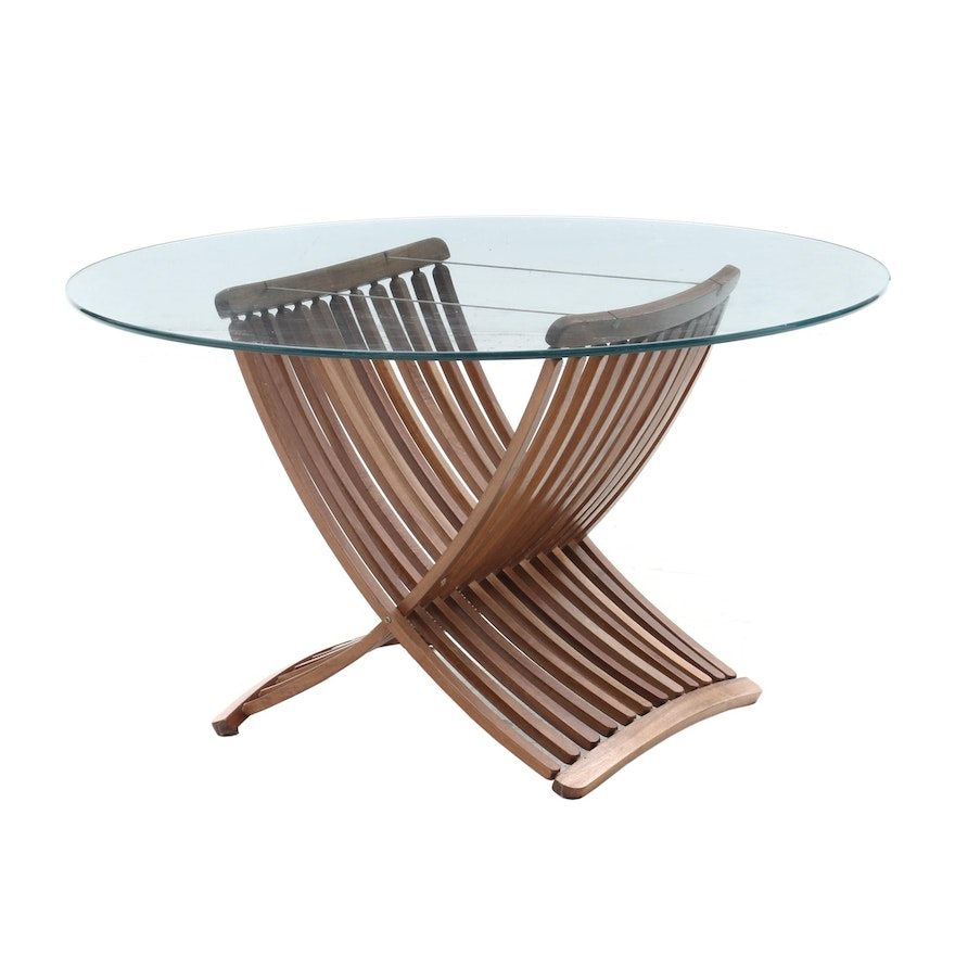 Danish Modern Dining Table with Glass Top, Circa 1950s