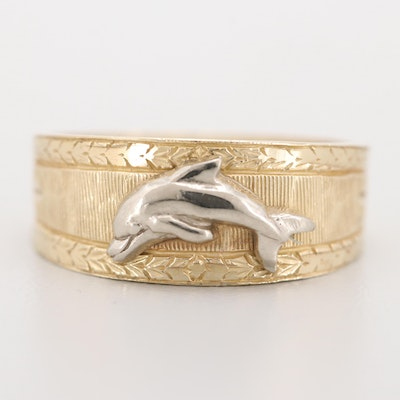 10K Yellow Gold Band with White Gold Dolphin Accent