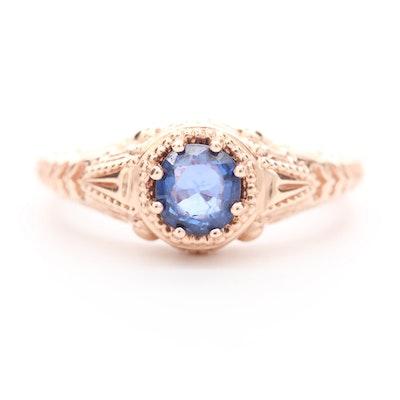 14K Rose Gold Sapphire Ring