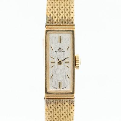 Vintage Bucherer Gold Tone Stem Wind Wristwatch, Circa 1970