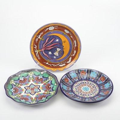 Mexican Talavera and Block Bernarda Ceramic Decorative Plates