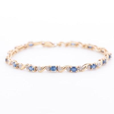 10K Yellow Gold Sapphire and Diamond Bracelet