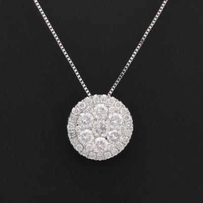 14K White Gold 1.00 CTW Diamond Pendant Necklace