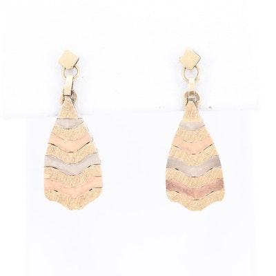 14K Tri Color Gold Dangle Earrings