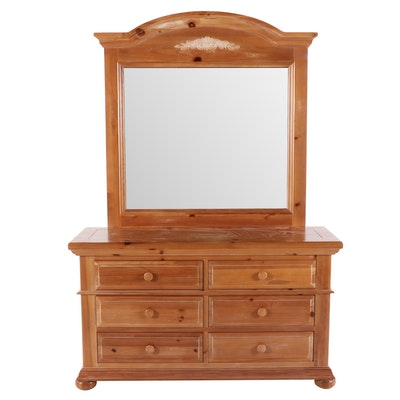 Broyhill Scrubbed Pine Dresser and Vanity Mirror