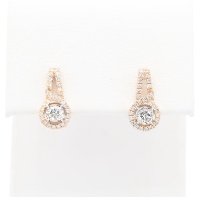 10K Yellow Gold Diamond Huggie Earrings