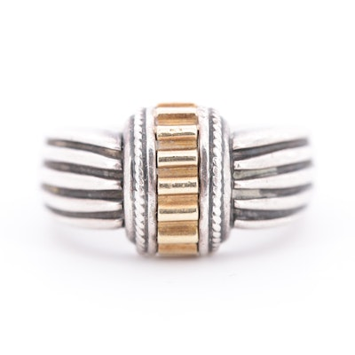 Sterling Silver Ring with 18K Yellow Gold Accents
