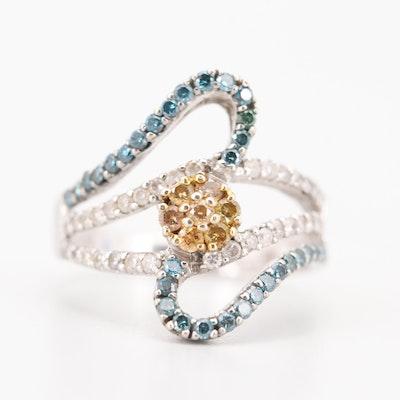 14K White Gold 1.17 CTW Diamond Tri-Colored Diamond Ring