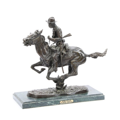 "Bronze Sculpture after Frederic Remington ""Trooper of the Plains"""