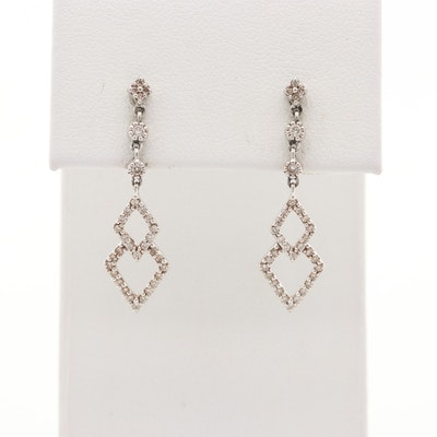 14K White Gold Diamond Dangle Earrings