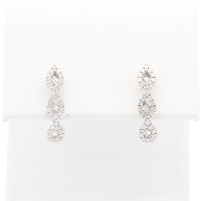 10K White Gold Diamond J Hoop Earrings