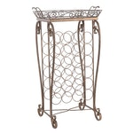 Contemporary Metal Wine Rack with Removable Tile Tray Top