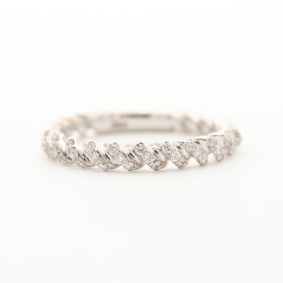 14K White Gold Diamond Twist Design Band