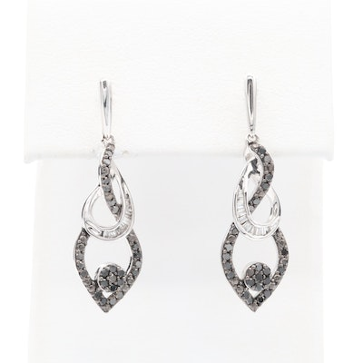 10K White Gold Diamond and Black Diamond Drop Earrings