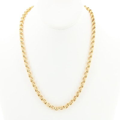 14K Yellow Gold Curve Cable Chain Necklace
