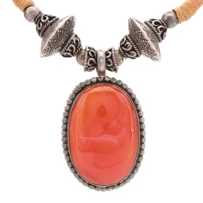 Sterling Silver Carnelian Beaded Necklace