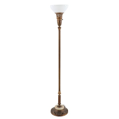 Brass and Onyx Torchiere Floor Lamp, Mid to Late 20th Century