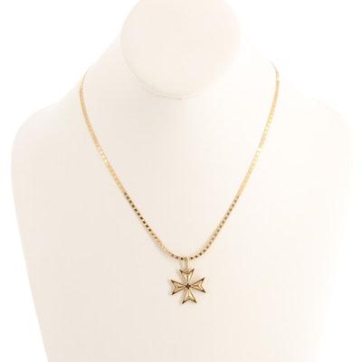 18K Yellow Gold Maltese Cross Pendant on 14K Gold Herringbone Chain
