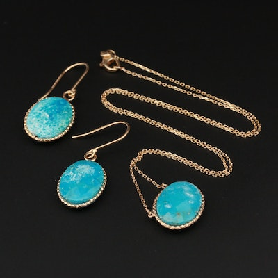 Sterling Silver Turquoise Necklace and Earrings Set