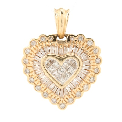 14K Yellow Gold 1.53 CTW Diamond Heart Pendant
