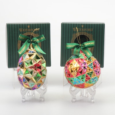 Pair of Waterford Faceted Painted Glass Ornaments