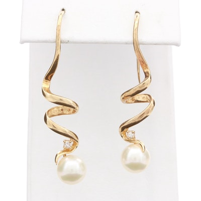 14K Yellow Gold Cultured Pearl and Diamond Swirl Earrings
