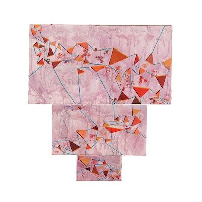 "Kieran Rae Koch Acrylic Painting Triptych ""Network"", 2014"
