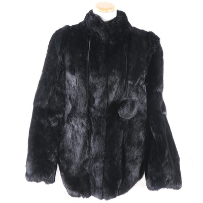 Dyed Black Rabbit Fur Coat