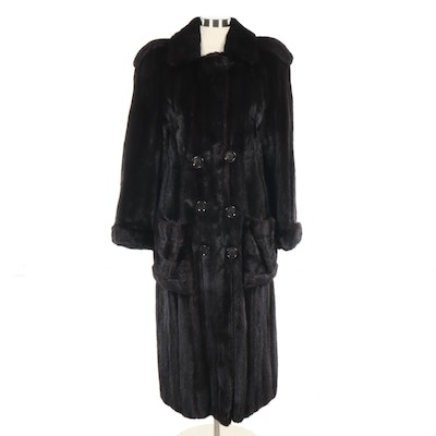 Ranch Mink Fur Double-Breasted Coat with Epaulettes, Vintage