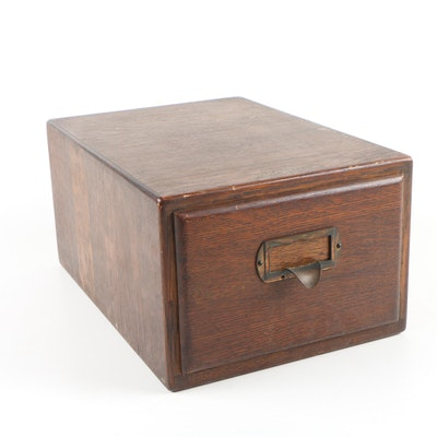 Shaw-Walker Oak Table Top Card Catalog File, Early 20th Century