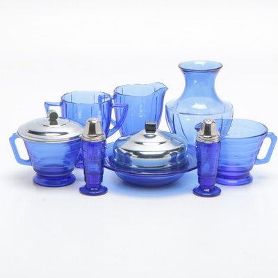 "Hazel Atlas Cobalt ""Concentric Rings"" and ""Newport Cobalt Blue"" Tableware"