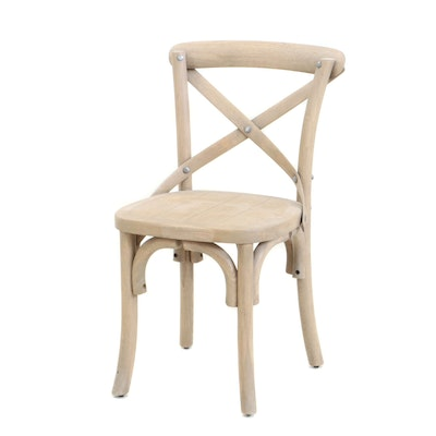 "Bleached Walnut ""X"" Back Children't Chair, Contemporary"