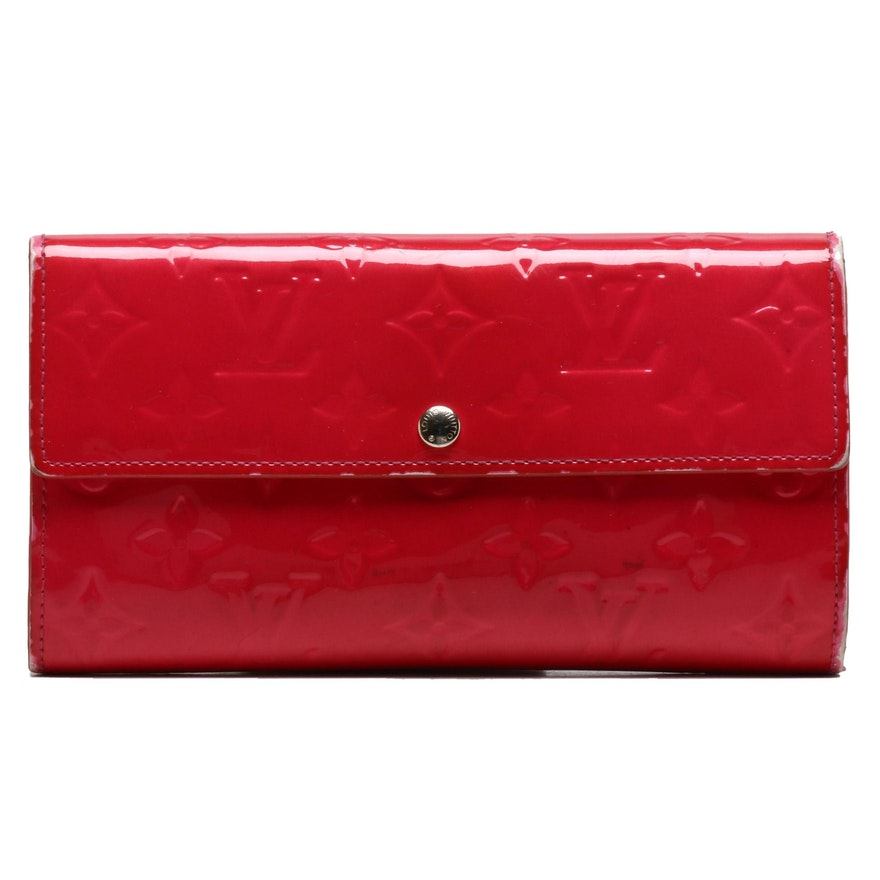 Louis Vuitton Framboise Vernis Leather Sarah Wallet