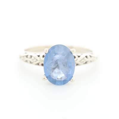 Shane Co. 14K White Gold 1.47 CT Sapphire Solitaire Ring