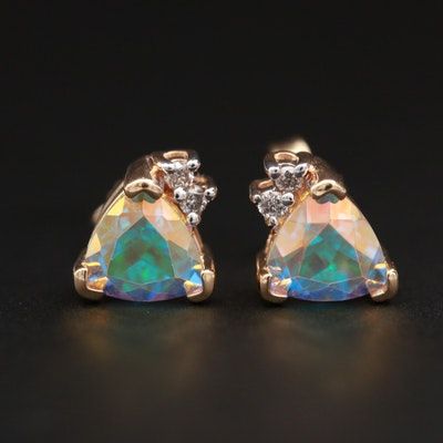 14K Yellow Gold Diamond and Topaz Stud Earrings